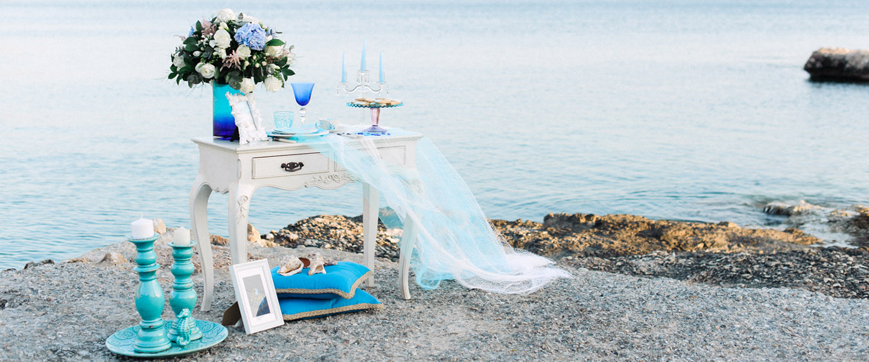 Bright Blue Wedding Events Light Blue Wedding Decor Close To The Sea